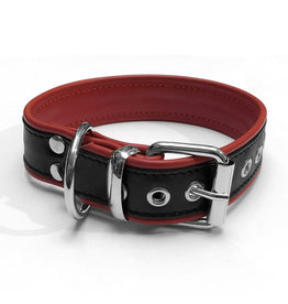 RoB Leather slave collar with 1 D-ring black/red medium