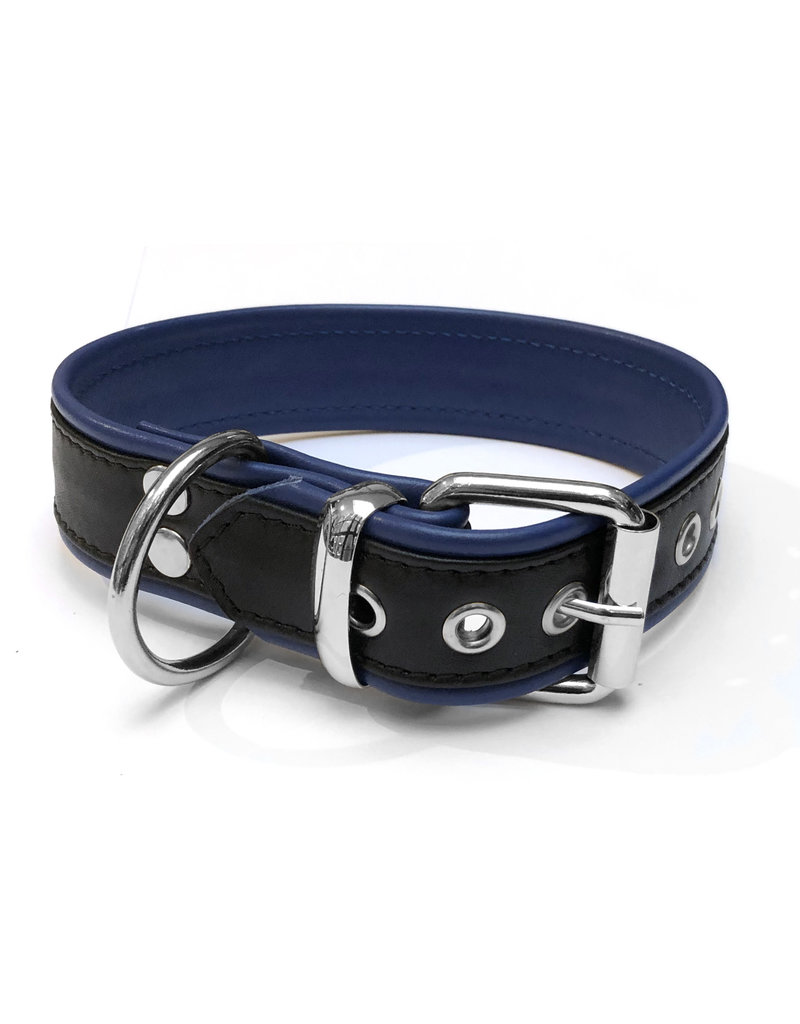 RoB Leren slavenhalsband met 1 D-ring zwart/blauw medium