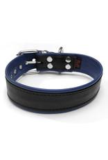 RoB Leder Sklavenhalsband 1 D-Ring schwarz/blau medium