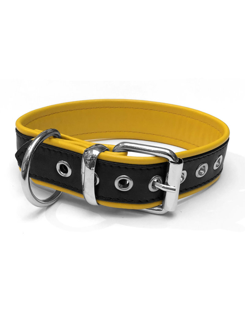 RoB Leather slave collar with 1 D-ring black/yellow medium
