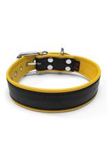 RoB Leren slavenhalsband met 1 D-ring zwart/geel medium