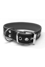 RoB Leather slave collar with 1 D-ring black/grey medium
