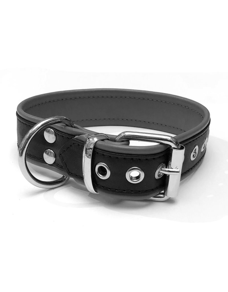 RoB Leren slavenhalsband met 1 D-ring zwart/grijs medium