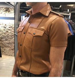 RoB Hellbraunes Polizei-Lederhemd