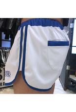 Sport shorts wit met blauwe strepen