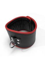 RoB Leren padded discipline halsband zwart/rood