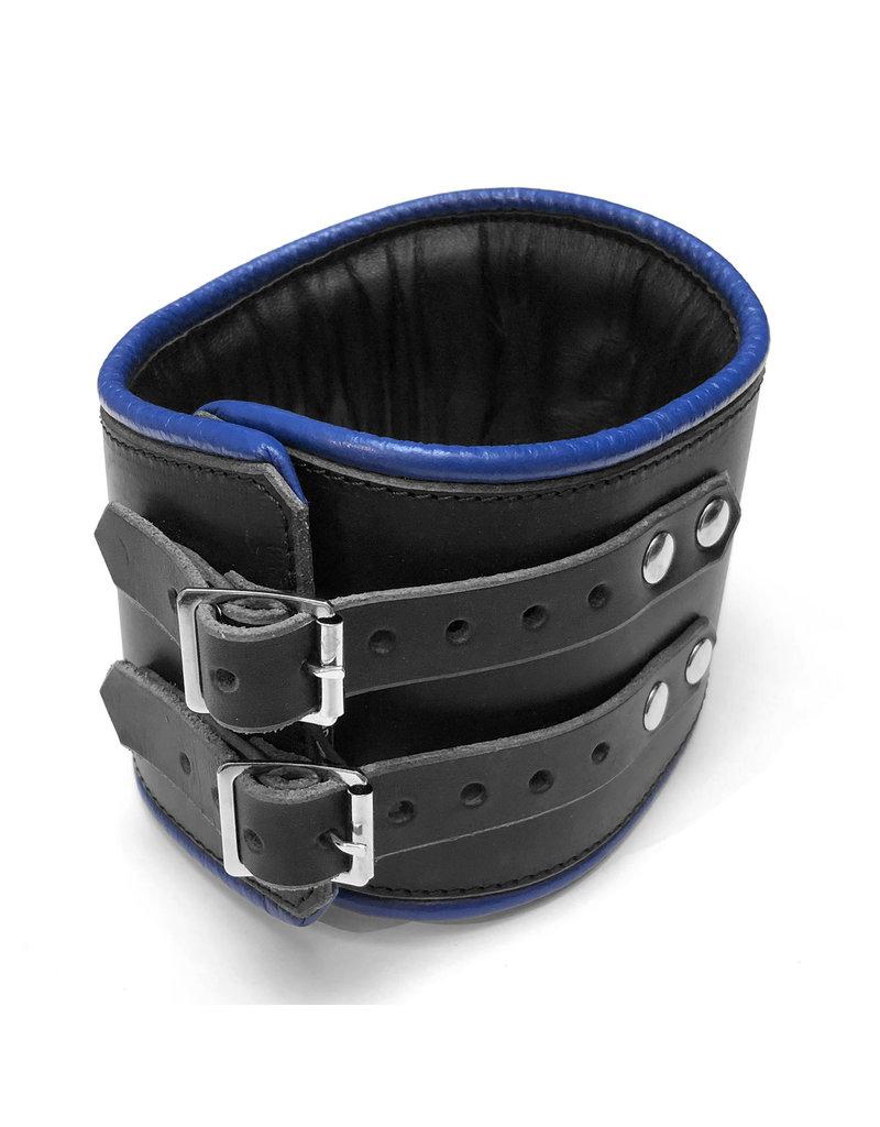 RoB Leren padded discipline halsband zwart/blauw