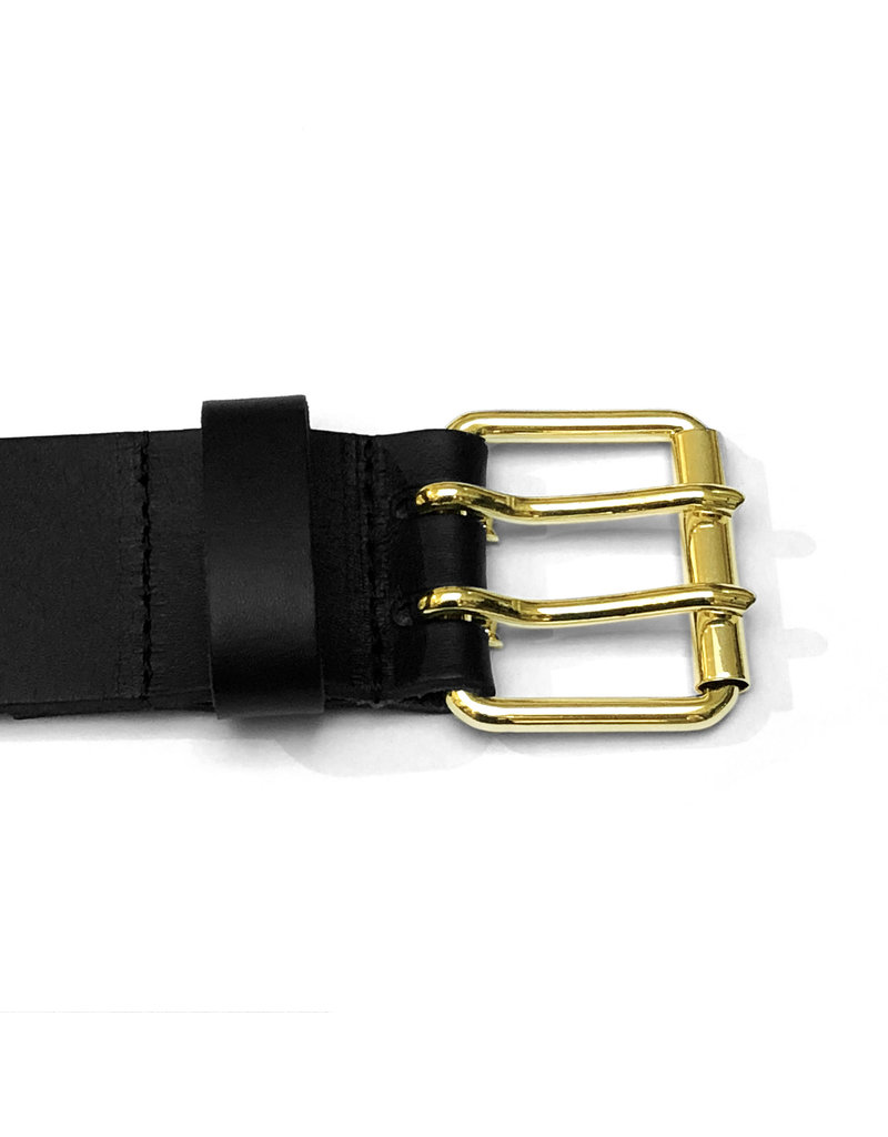 RoB Leather belt with double buckle gold colored