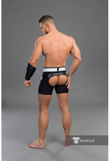 Maskulo Youngero fetish shorts, codpiece, open rear black/neon