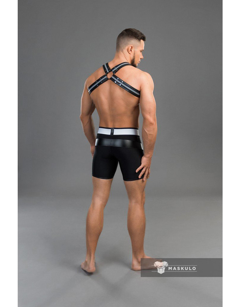 Maskulo Youngero men's fetish shorts with codpiece black