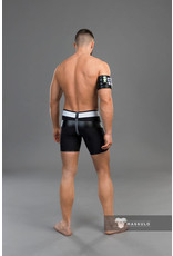 Maskulo Youngero men's fetish shorts, codpiece & zipped rear black