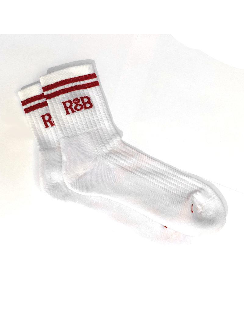RoB Sportsocken weiß mit roten Streifen