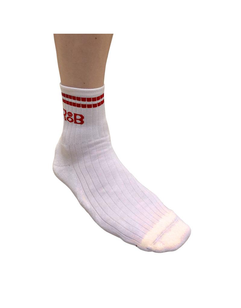RoB Sport sokken wit met rode strepen