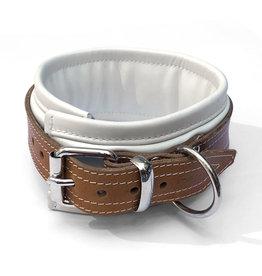 RoB Leren slavenhalsband padded wit/bruin