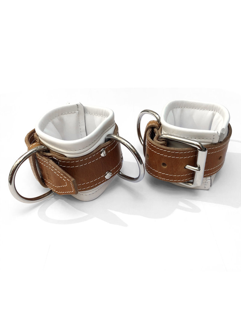 RoB Leather wrist restraints extra wide, soft padding, white/brown