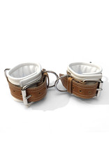 RoB Leather ankle restraints extra wide, soft padding, white/brown