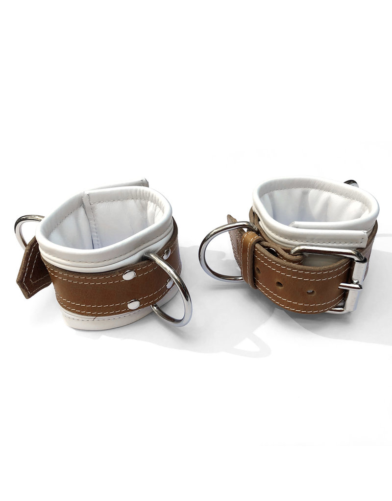 RoB Leder Fussfesseln, extra breit mit Fütterung, weiss/braun