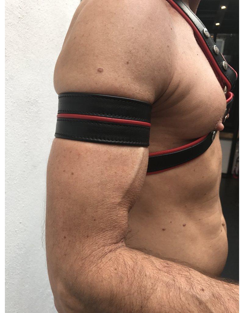 RoB Leder Bicepsband 50 mm breit Schwarz/Rot mit Druckknöpfen