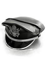RoB Leather Military Cap, Silver Trim, Extension Strap & Patch