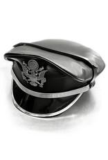RoB Leder Militärkappe mit Silberner Rand, Band & Emblem