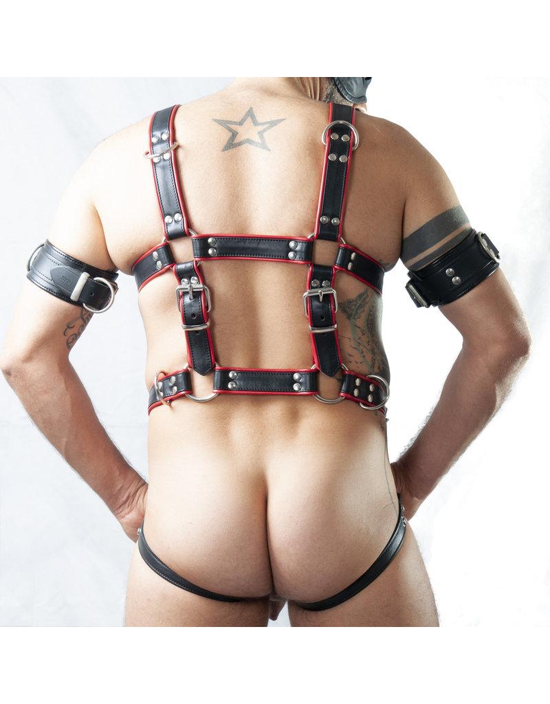 RoB Sklave Bondage Harness schwarz auf rot