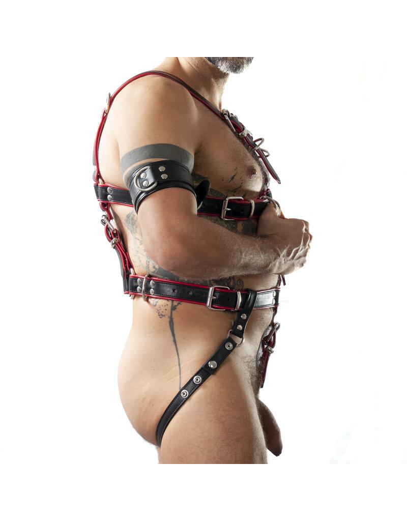 RoB Slaaf bondage harnas zwart op rood