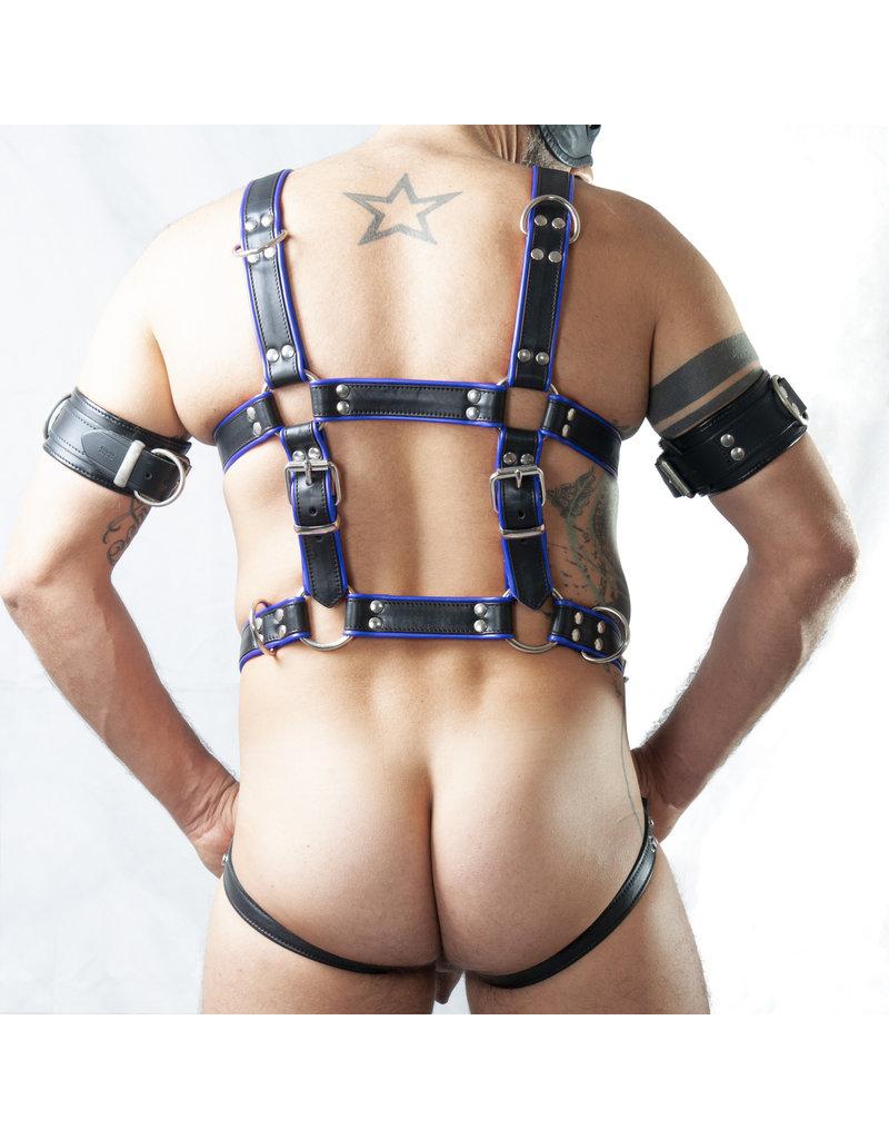 RoB Slaaf bondage harnas zwart op blauw