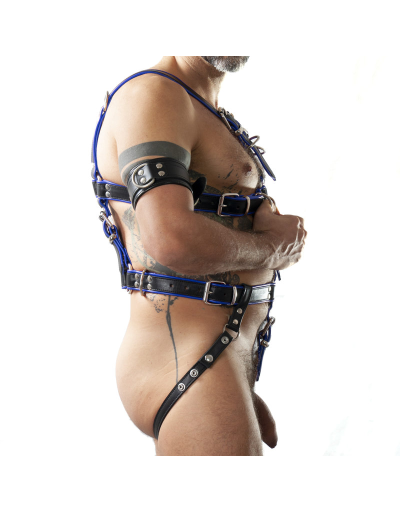 RoB Slave bondage harness black on blue