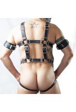 RoB Slaaf bondage harnas zwart op grijs