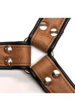 RoB H-front harnas bruin met zwarte bies