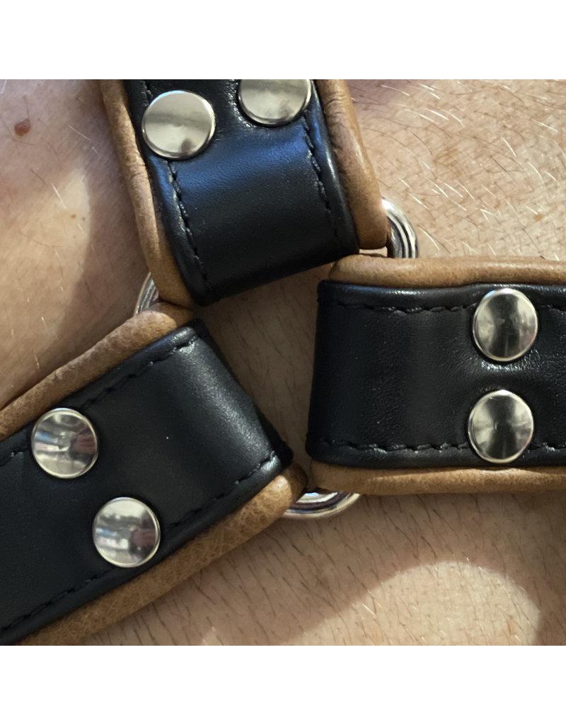 RoB H-front harnas zwart met bruine bies