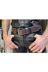 RoB Leather belt 5 cm double buckle dark brown