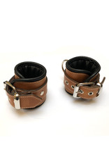 RoB Leather Wrist Restraints Brown with Black Piping