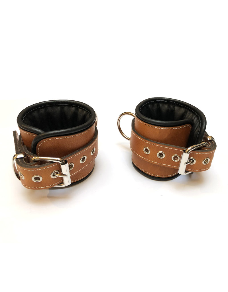RoB Leather ankle restraints brown with black piping