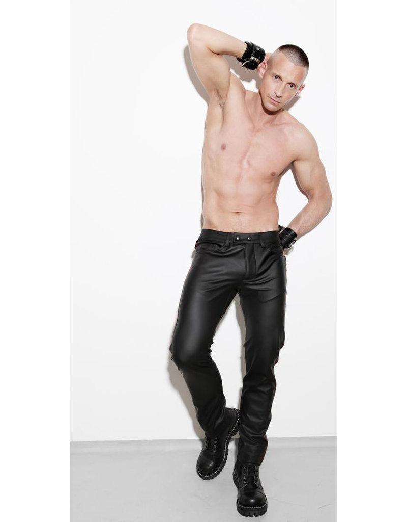 Full zip, slim fit jeans with blind pockets & black stripe