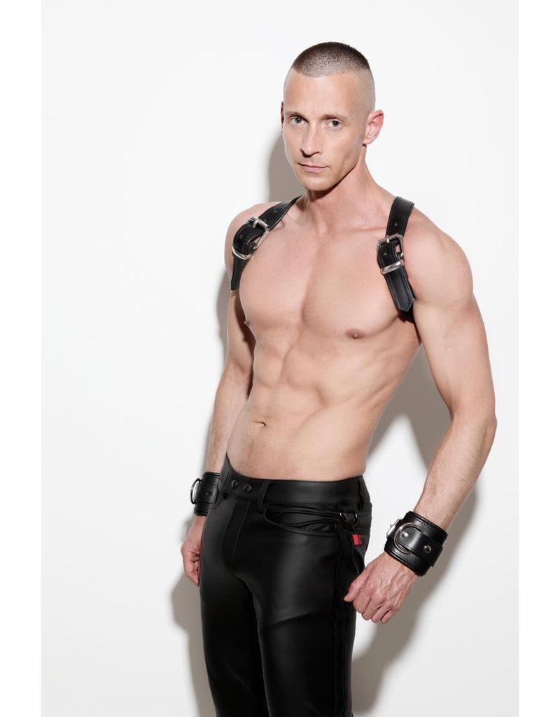 Full zip, slim fit jeans met blind pockets & zwarte streep