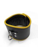 RoB Leren padded discipline halsband zwart/geel