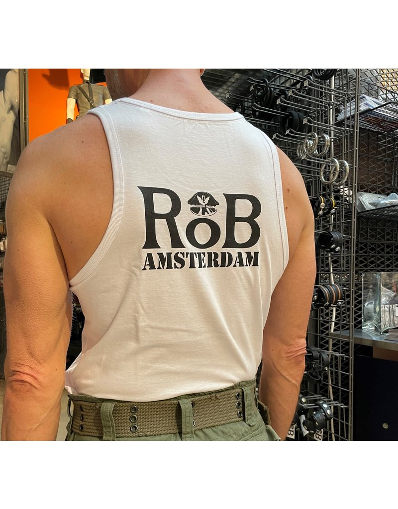 RoB Singlet wit met zwart logo