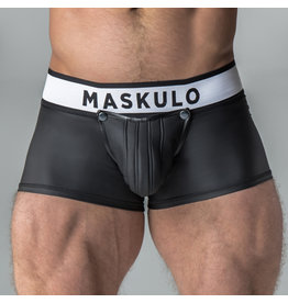 Maskulo Armored rubber look trunk shorts with detachable pouch and open rear, black