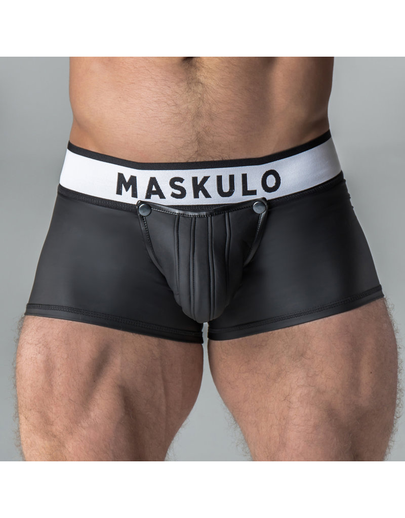 Maskulo Armored  rubber look trunk shorts with detachable pouch & open rear