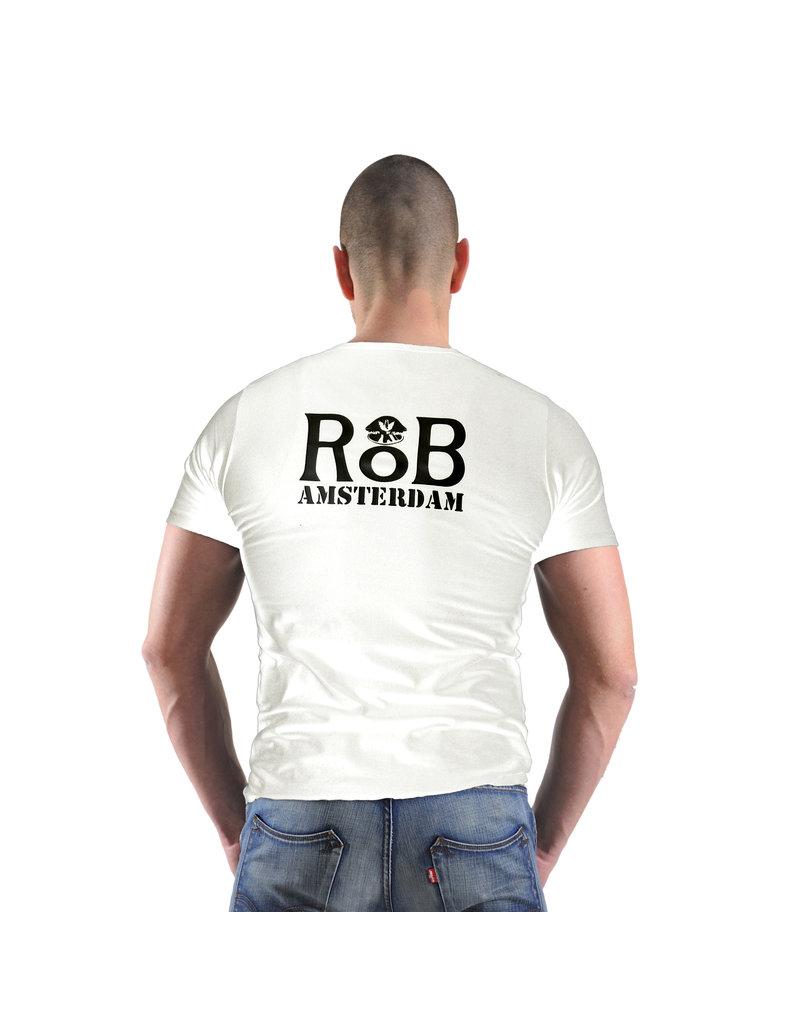RoB T-shirt wit met zwart logo