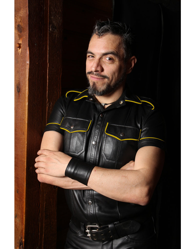 RoB Polizei Lederhemd schwarz mit gelber Rand
