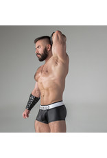 Maskulo Armored rubber look trunk shorts with detachable pouch & closed rear