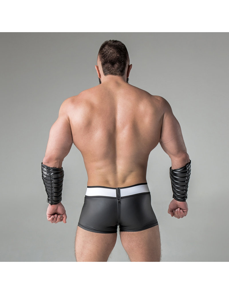 Maskulo Armored rubber look trunk shorts detachable pouch & zippered rear.