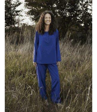Travelers Tree Travelers Tree Pyjama dames lang, zijde-katoen, blauw