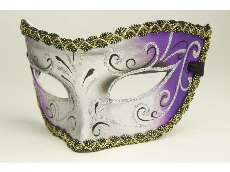 Venetiaans galamasker 'Magico' zilver/paars