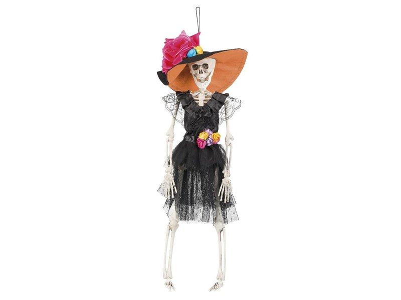 Dia de los Muertos skeletje 'La Flaca' (40 cm) Dag van de doden decoratie