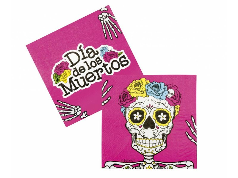 Set 12 Dia de los Muertos servetten (33 x 33 cm) | Day of the dead aankleding