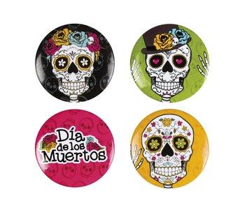 Set 4 Buttons Day of the dead 4 ass. (3 cm)