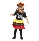 Kinderkostuum Pequeña Catrina (3-4 jaar) Dia de los Muertos